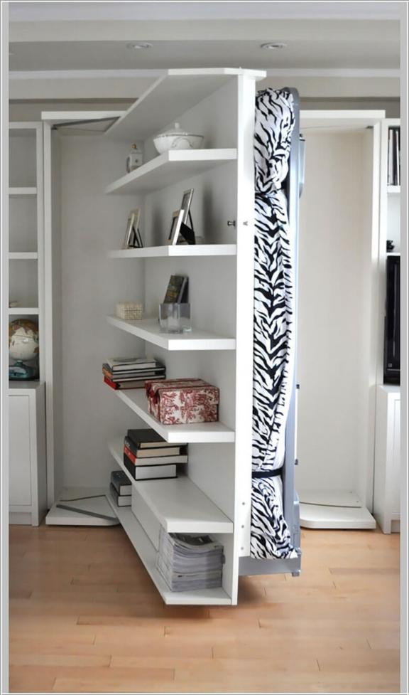 A Bed Hidden Away by Shelves