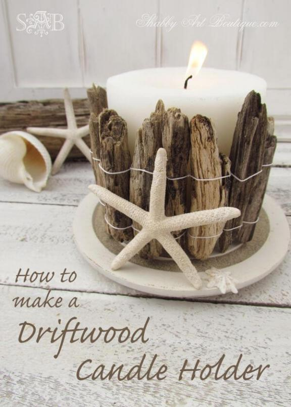 A Large Candle Holder Crafted from Driftwood