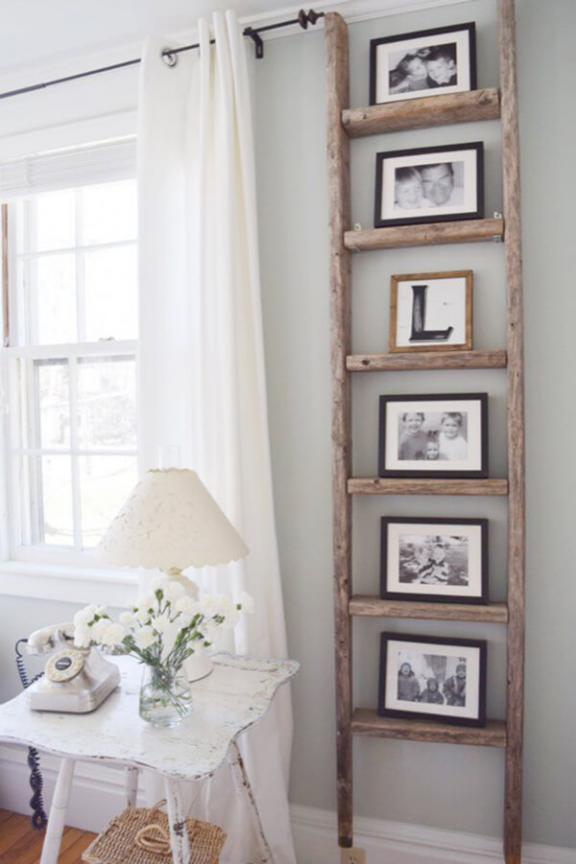 Antique Wooden Ladder Photo Display
