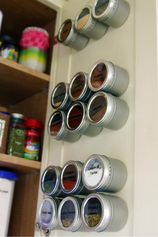Attach Magnetic Canisters Inside Cabinet Doors for Space-Saving Solutions