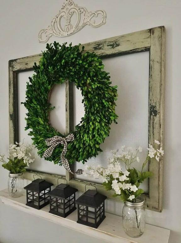 Boxwood Wreath and Recycled Window Display