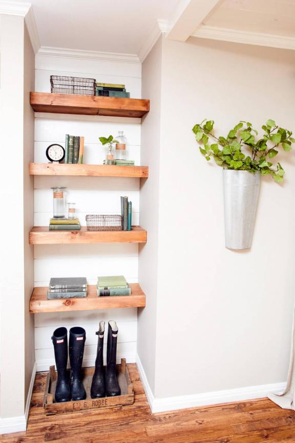 Chunky Wooden Shelves for a Compact Space