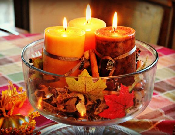 Colorful Fall Candle Centerpiece