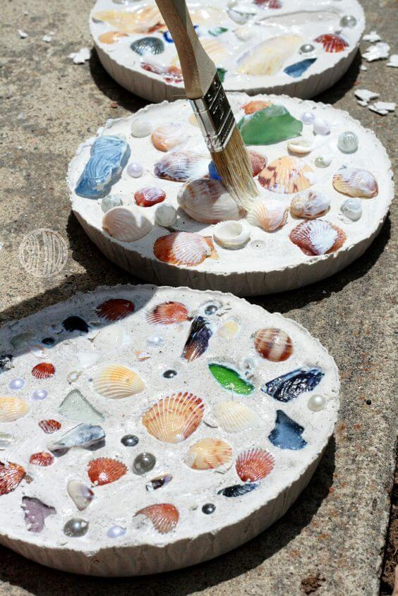 Colorful Sand and Shell Stepping Stones