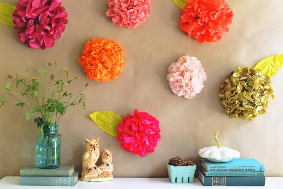 Colorful summer design tissue paper flowers
