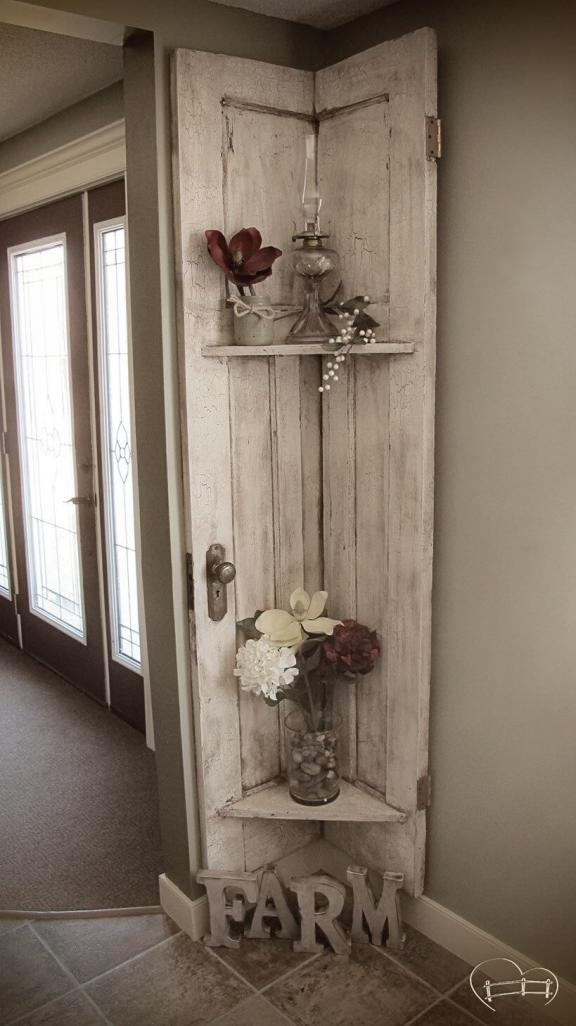 Corner Door Repurposed Farm Shelf