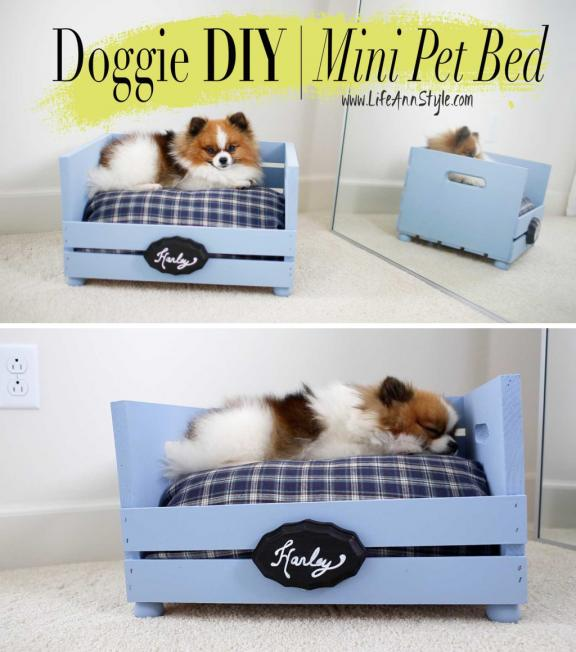 Craft-store Crate Turned Custom Pet Bed