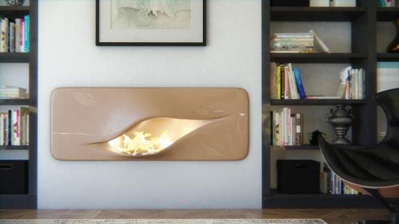 Curved and Sculptural Modern Fireplace Design