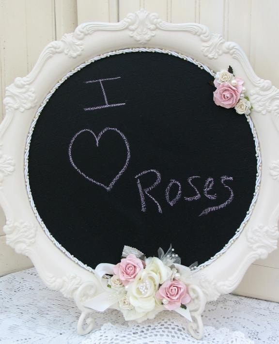 Delicately Flowered Porcelain Plate Chalkboard