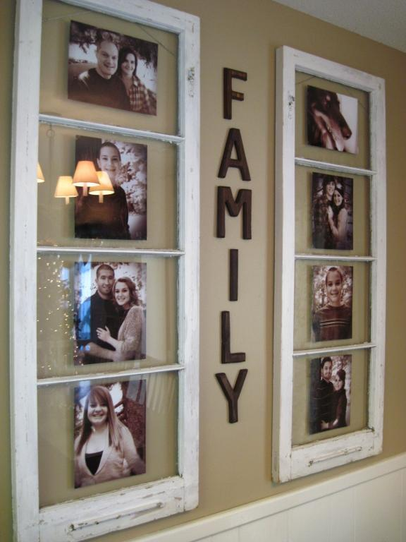 Family Photo Collage from Recycled Window Frames