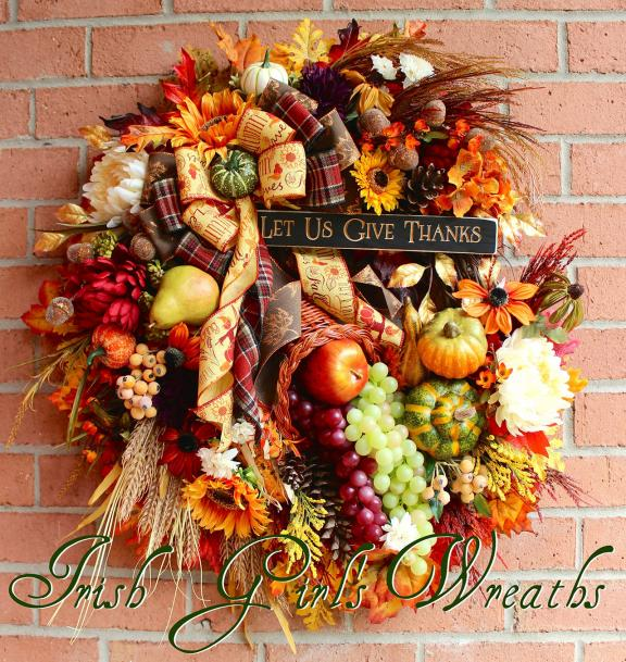 Gorgeous Wreath with Ribbon, Flowers, Leaves and Gourds