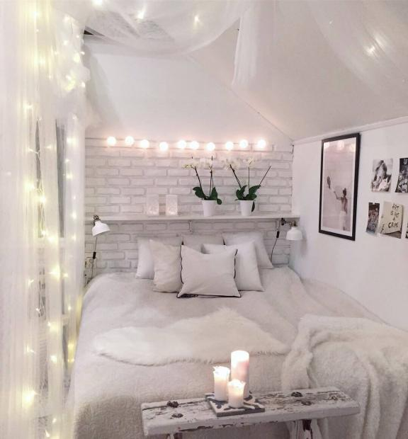 Illuminated Canopy Overlooking the Soft Bed