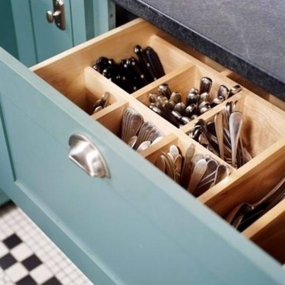 Keep Utensils in a Deep Drawer With Wooden, Vertical Slots