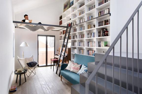 Luxury Library with Ladder and Net