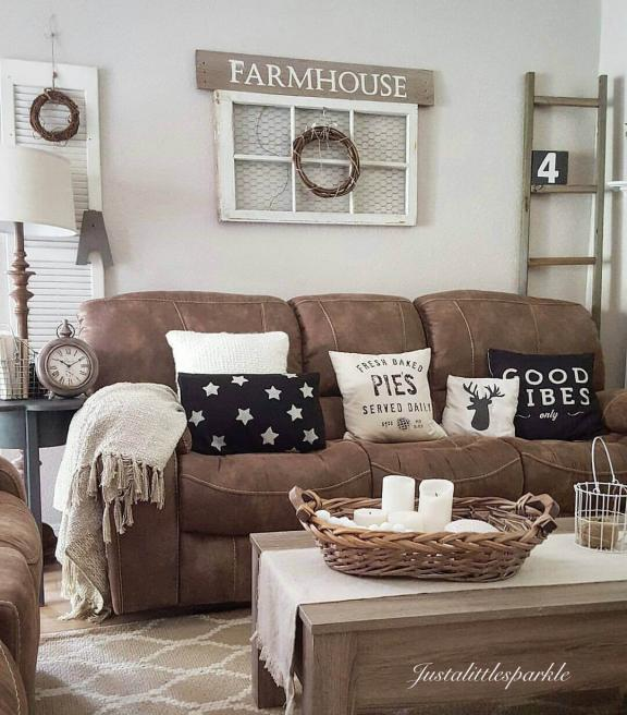 Microfiber Couch Farmhouse Living Room Decor Ideas
