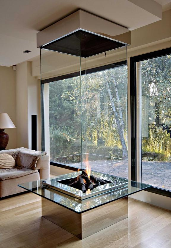 Mirrored Glass Fireplace Idea