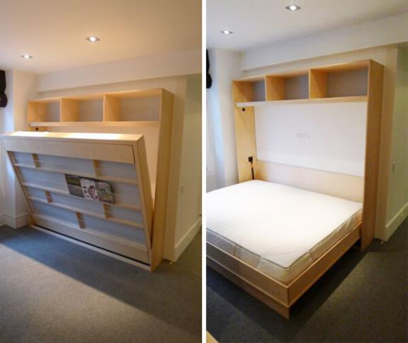 Pine Murphy Bed Hidden in a Bookshelf