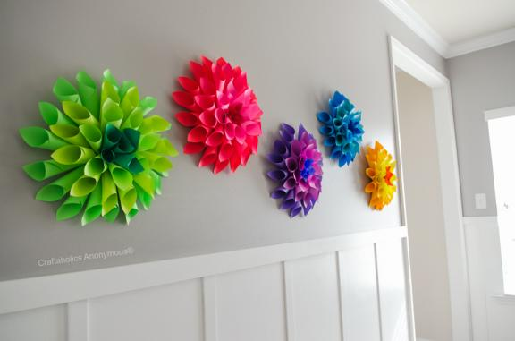 Rainbow effect with paper dahlias