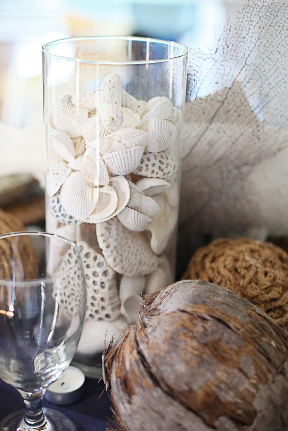 Seashell vase centerpiece
