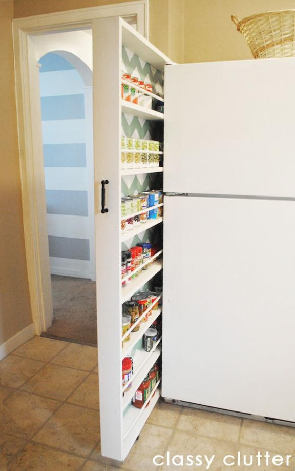 Slide-Out, Narrow Pantries are Popular Kitchen Organization Ideas