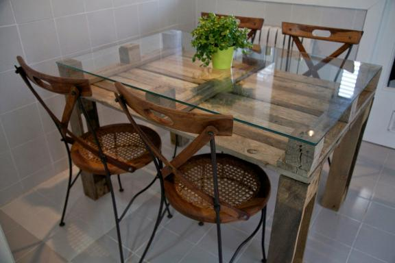 Small Glass-topped Dining Table