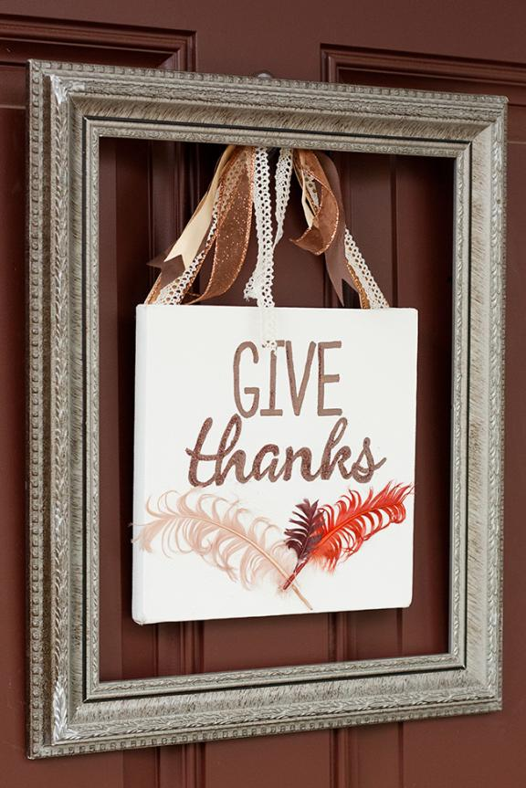 "Quadrante con cornice ""Give Thanks"" Door Sign"