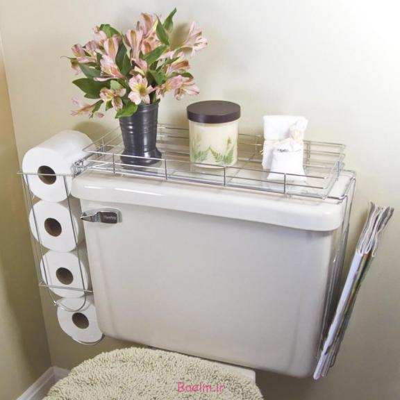 Toilet-Mounted Wire Storage Rack