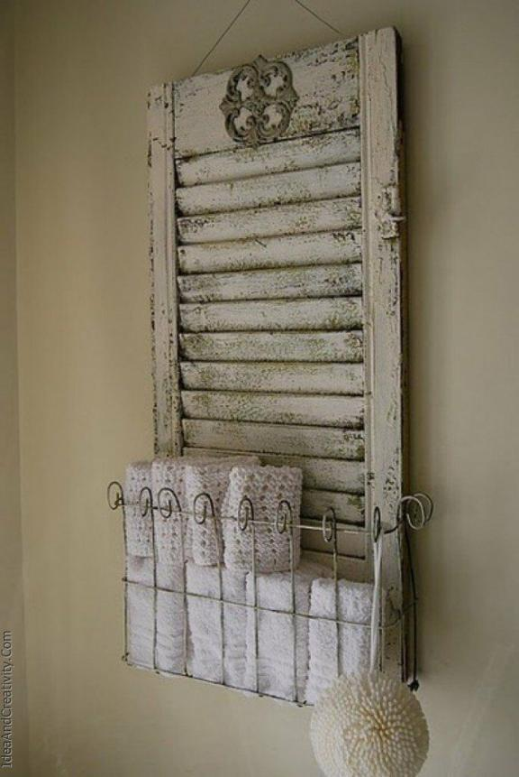 Whitewashed Shutter Storage Basket