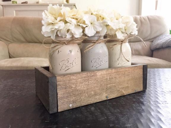 Wooden Box and Painted Mason Jar Centerpiece