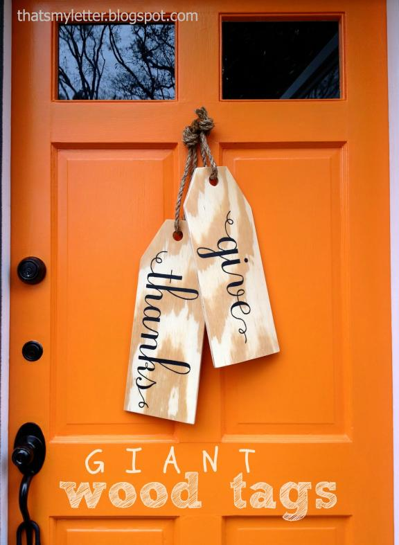 Wooden Tag Door Thanksgiving Décor