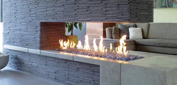 modern linear fireplace idea