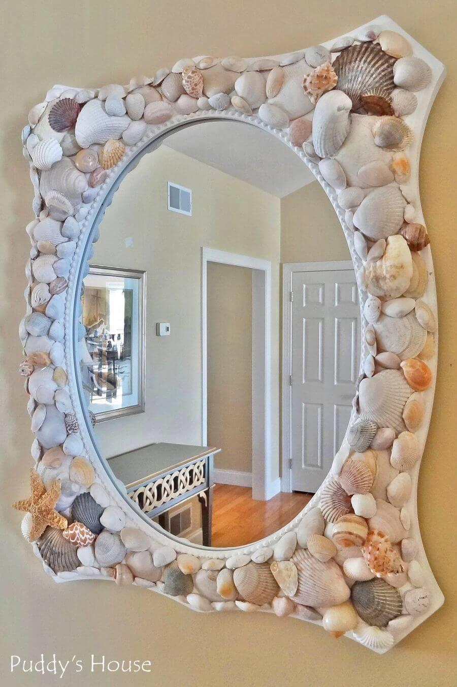 A Beach-Themed Mirror on The Wall