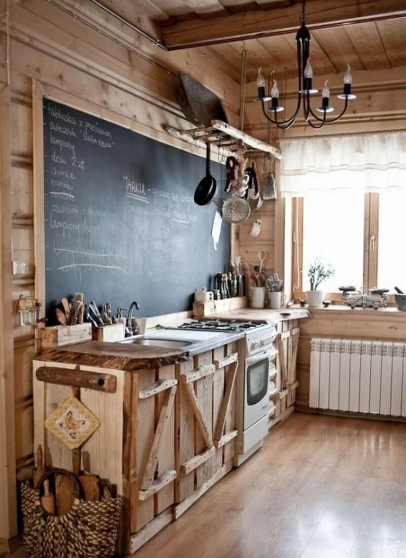A Chalkboard Makes a Unique Addition to a Cabin-Style Rustic Kitchen