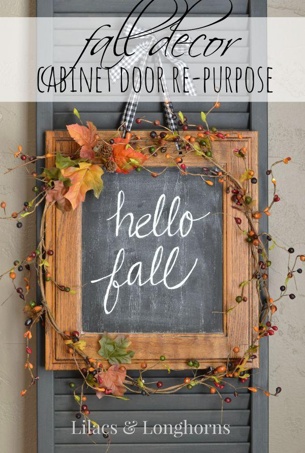A Repurposed Cabinet Door Makes For A Special Diy Fall Decor