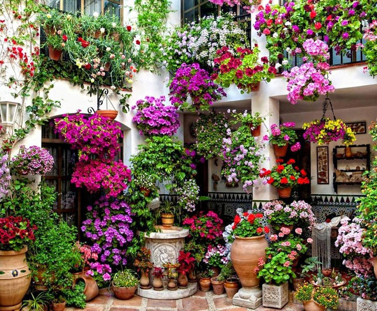 A Two-Story Hanging Garden of Flowers