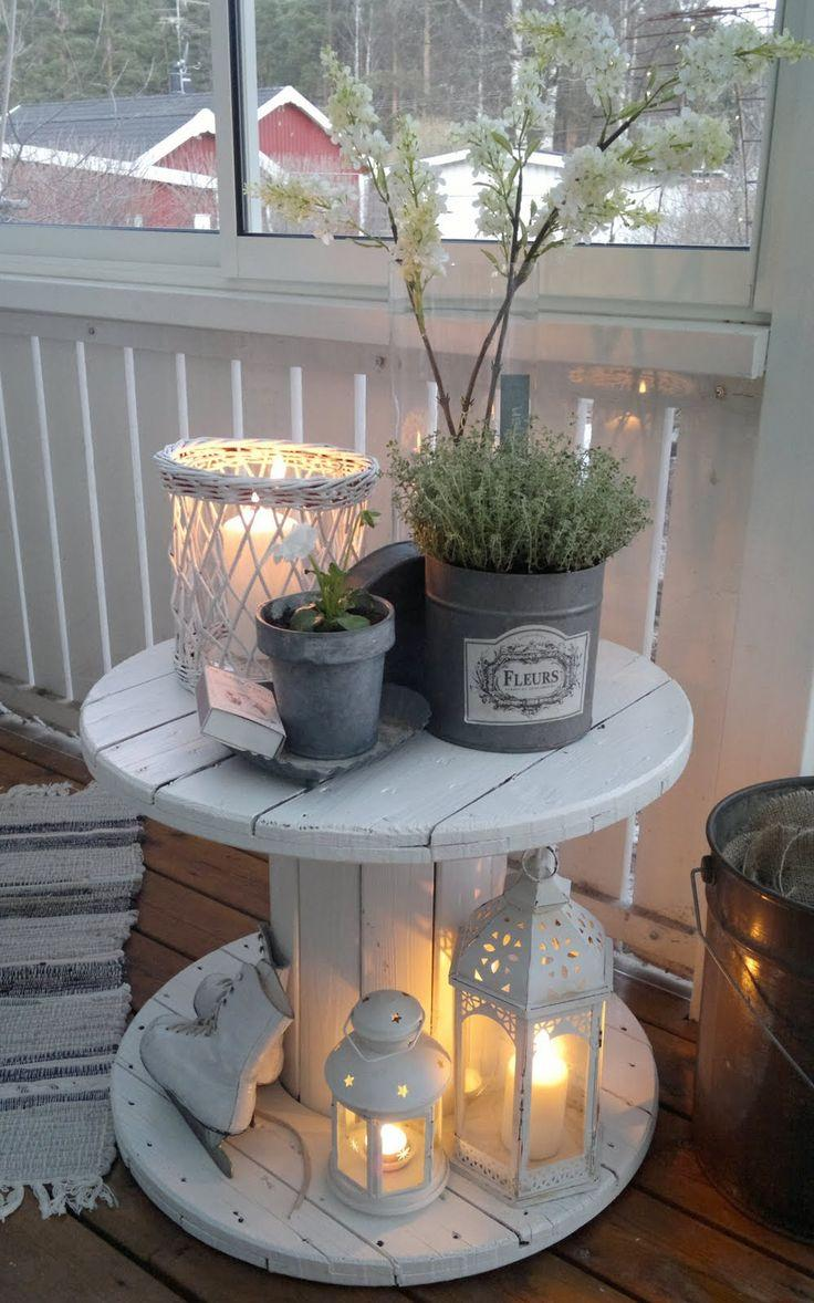 Antique White Pieces Show Off a Potted Herb Garden Beautifully