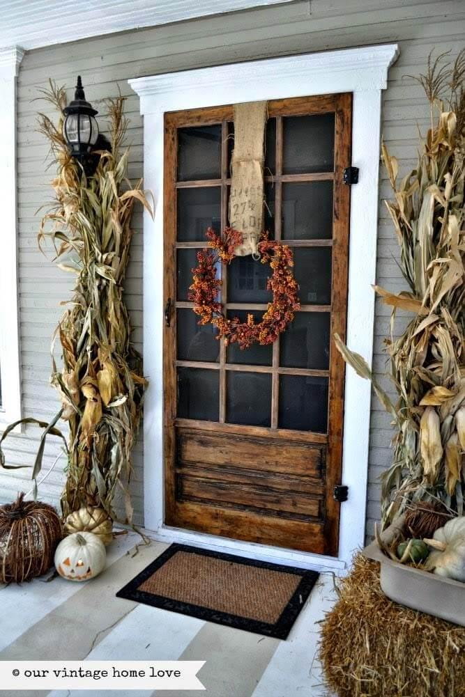 Autumnal Corn Maze Porch Door Decor