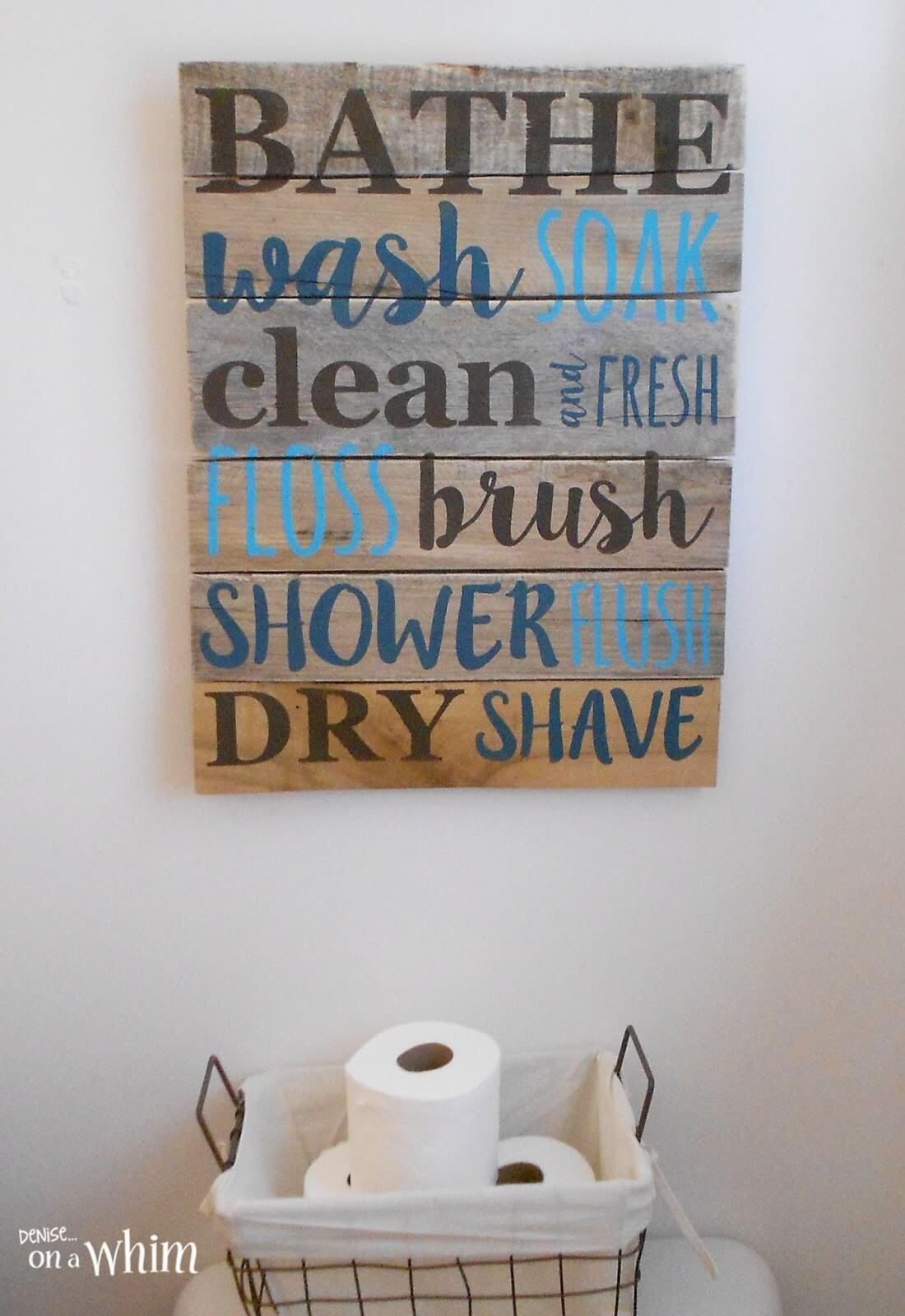 Bathroom List Hand Painted Pallet Sign