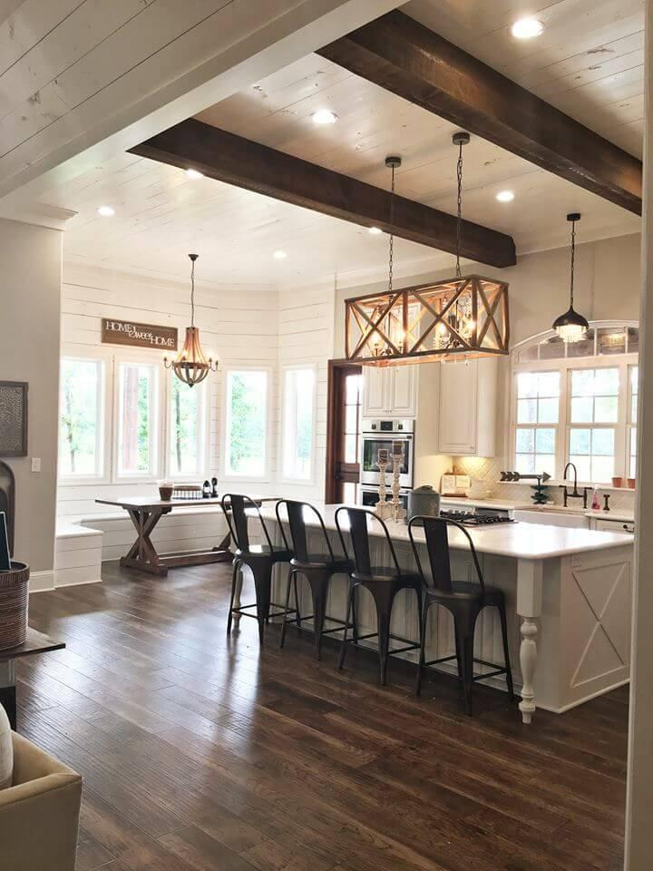 Beautiful Bold Beams in a Modern Country Kitchen
