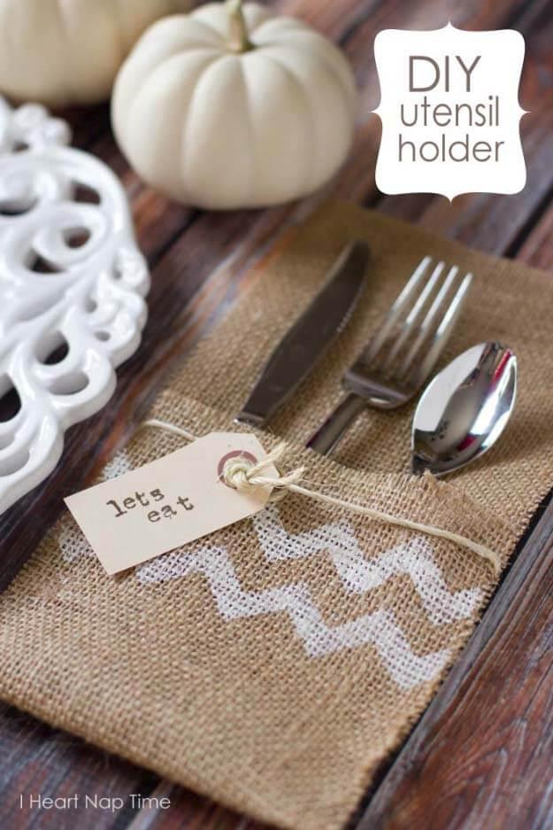 Bon Appetit Burlap Utensil Holder