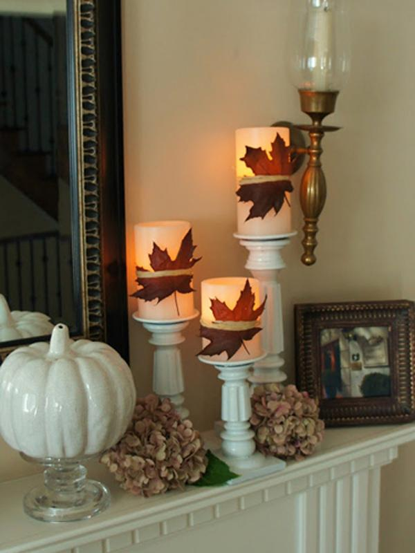 Classic Fall Leaves Decorate your Candles