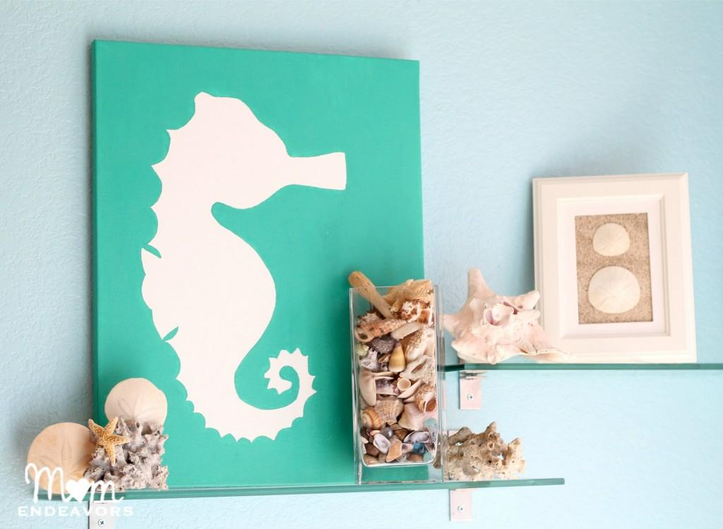 DIY beach themed bathroom wall art