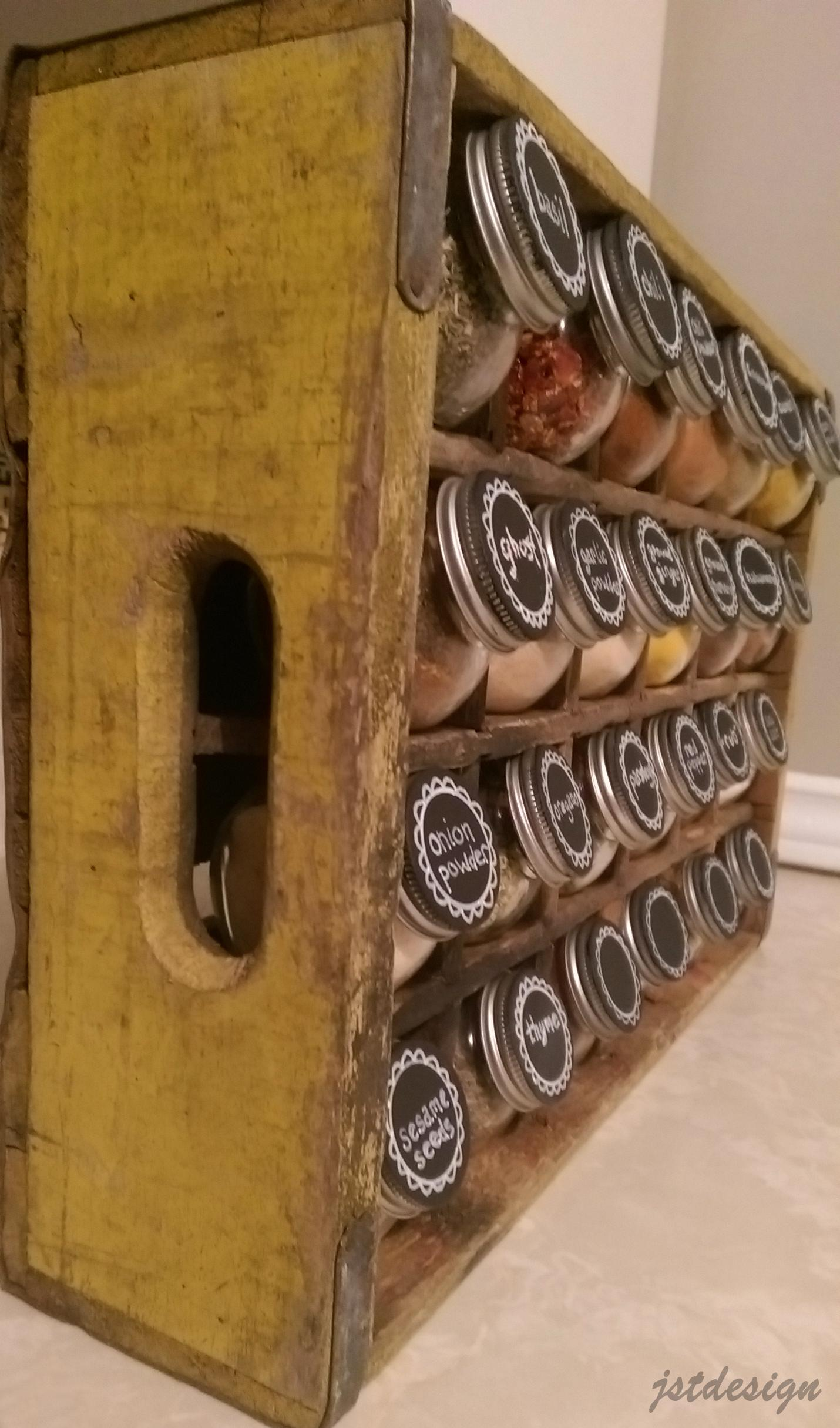 Distressed Wooden Crate Turned Spice Rack