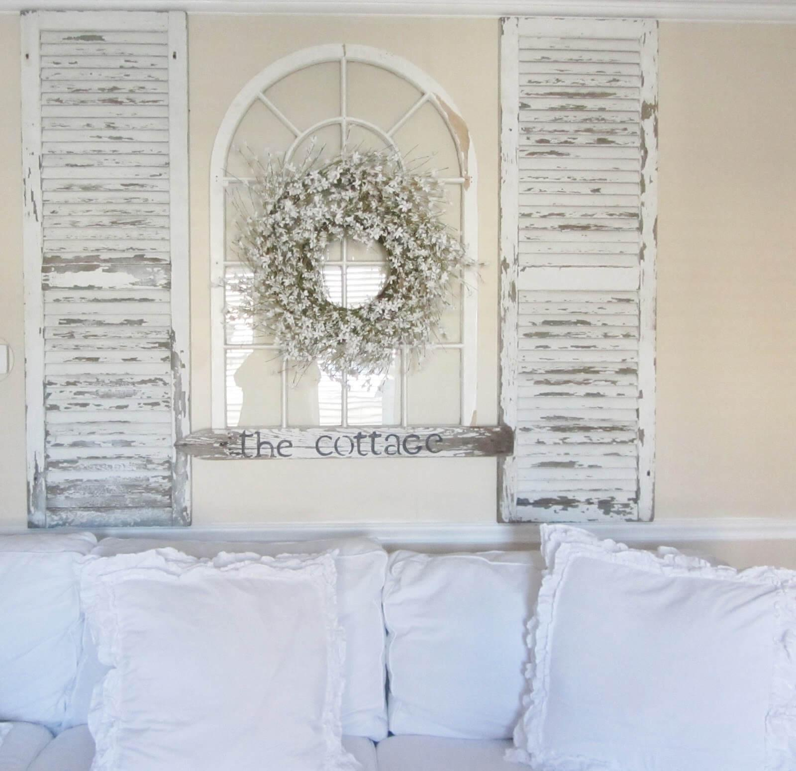 Easy Headboard From Whitewashed Shutters And Window Frame