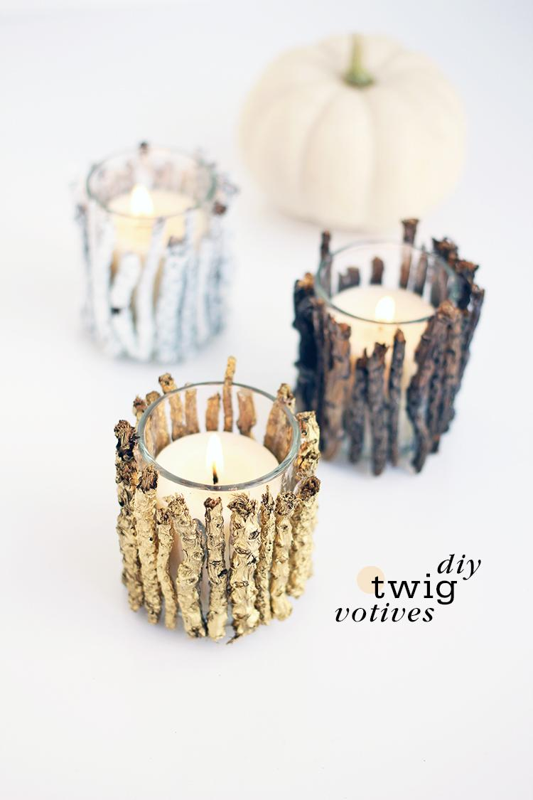 Fall to Holiday Woodsy Votive Holders