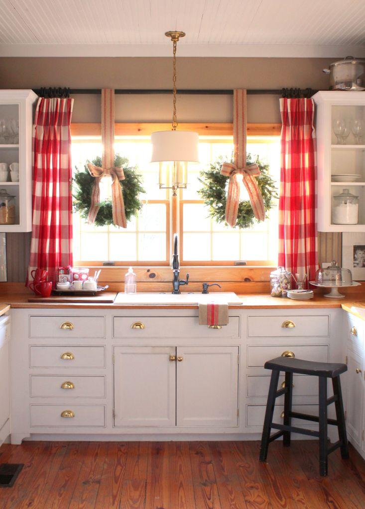 Gingham Curtains Complete this All-American Country Kitchen
