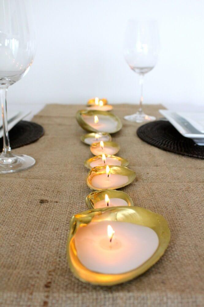 Line of Candles in Gold Colored Shells