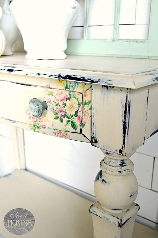 Painted Wood Desk with Flower Detail