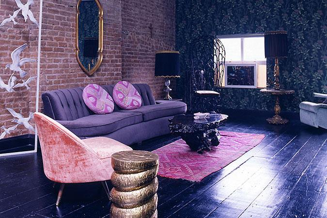 Purple Loft Living Room Idea