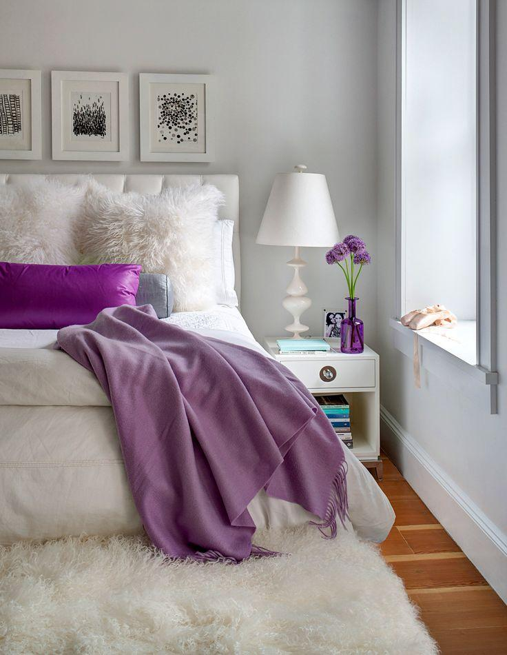 Purple and White Bedroom Design